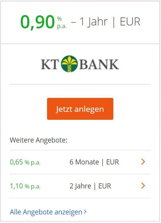 KT Bank 1-jähriges Festgeld.