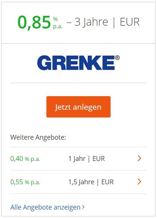 3-jähriges Festgeld bei der Grenke Bank in Baden-Baden.