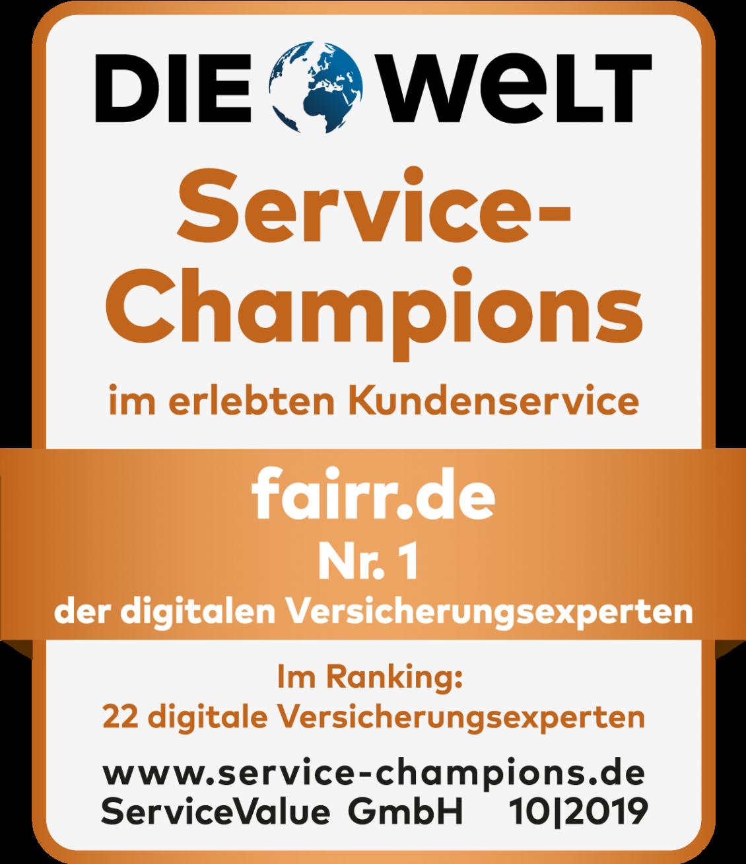 Die Welt zeichnet den Kundenservice von Fairr aus.