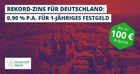Rekordzins aus Deutschland mit 0,90 % p.a. für 1-jähriges Festgeld.