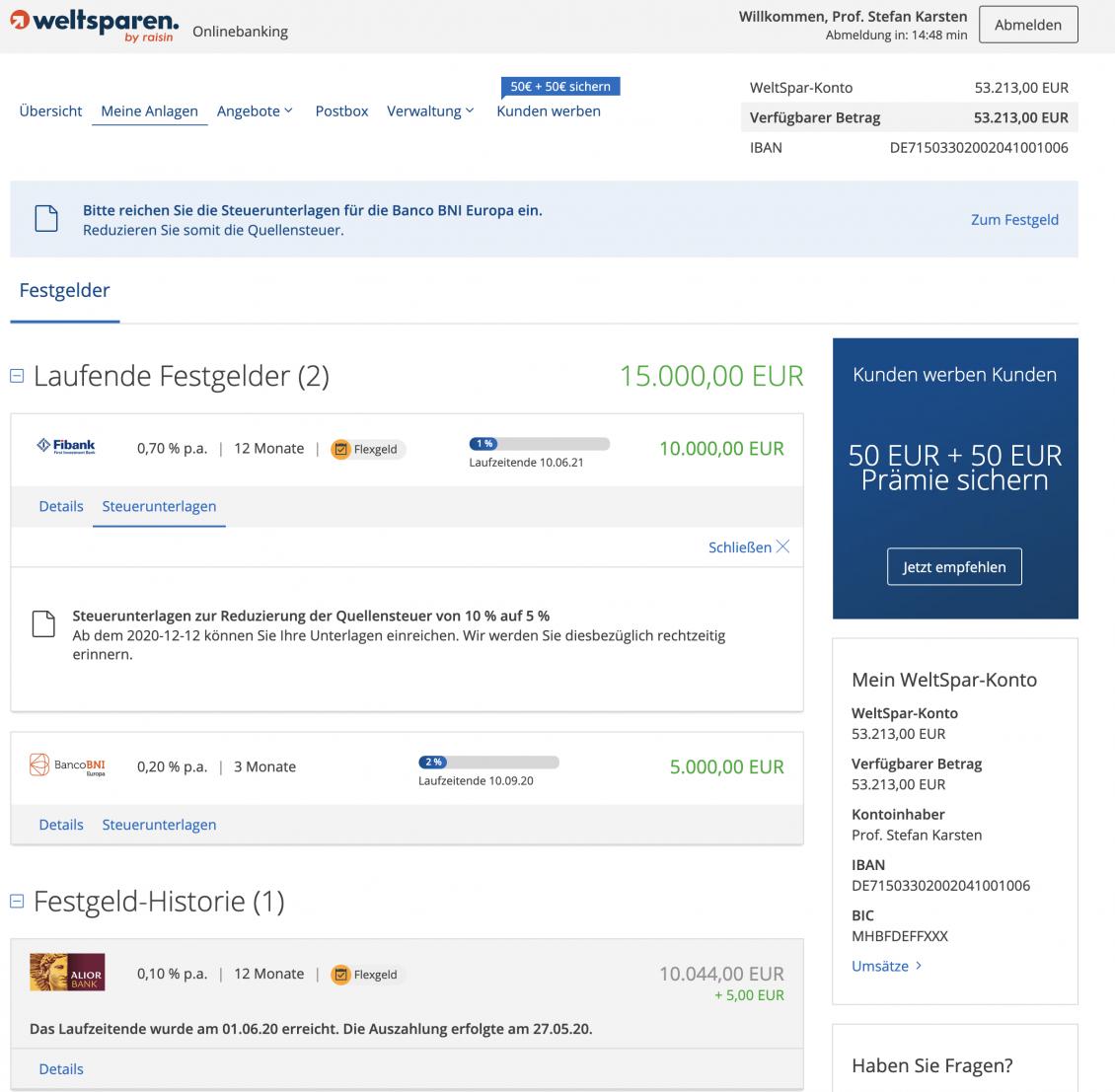 Hinweis zur Quellensteuer in Bulgarien im Onlinebanking von WeltSparen.