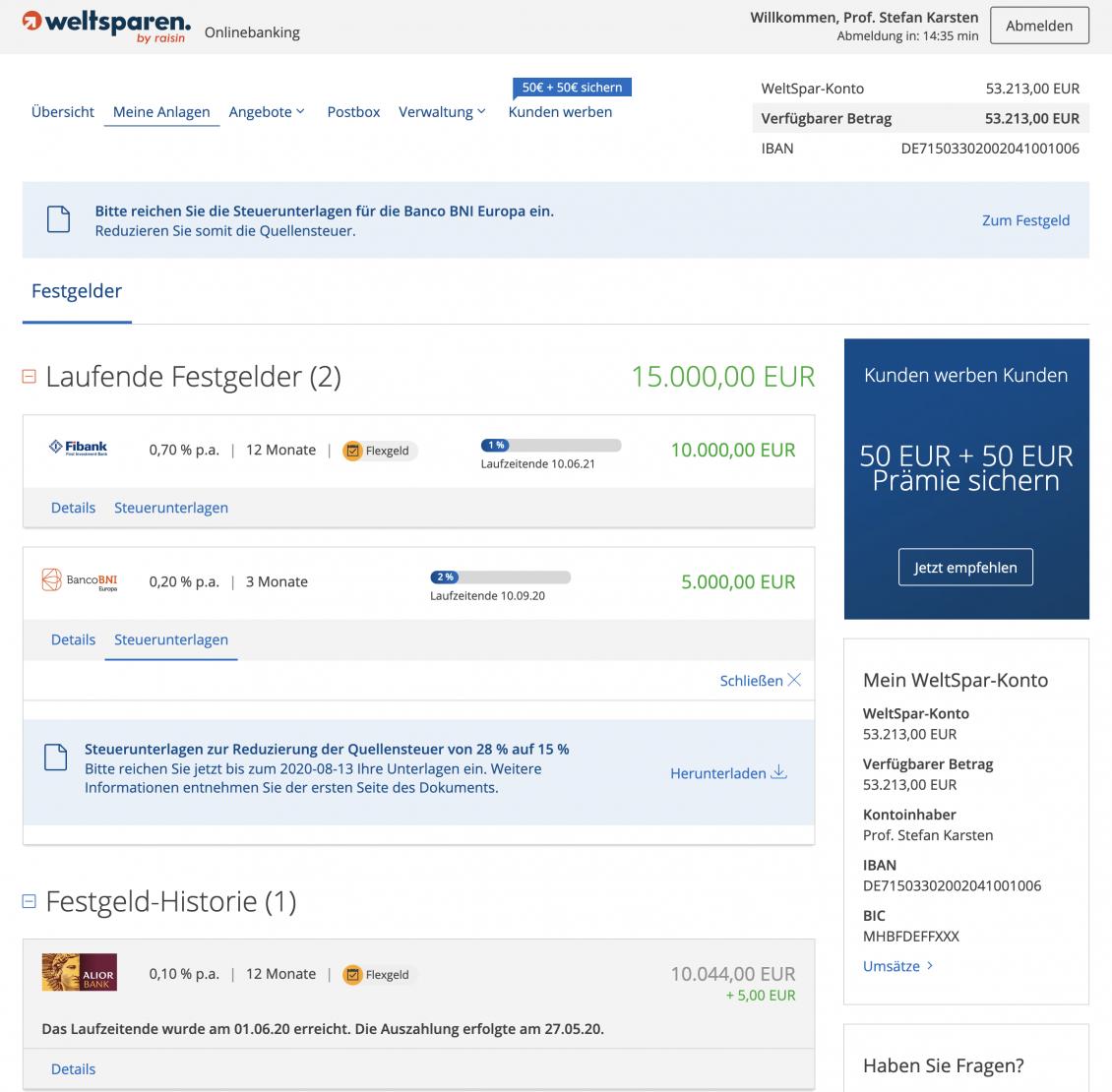Hinweis zur Quellensteuer in Spanien im Onlinebanking von WeltSparen.