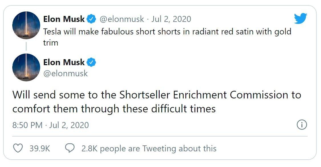 Elon Musk twittert gegen Shortseller.